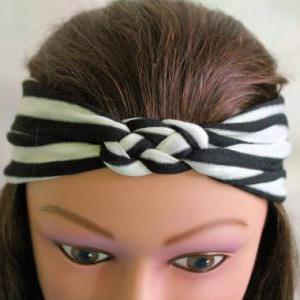 black and white stripe Knotted Jers..