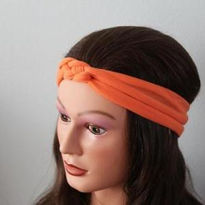 orange Knotted Jersey Headband, T-S..