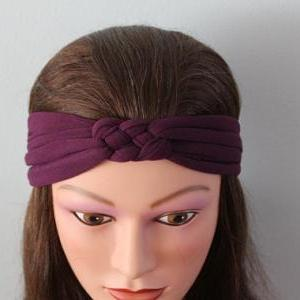 purple Knotted Jersey Headband, T-S..