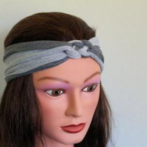 grey stripe Knotted Jersey Headband..
