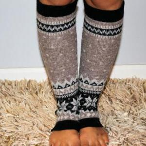 Women's taupe Knitted Leg Warmer or..