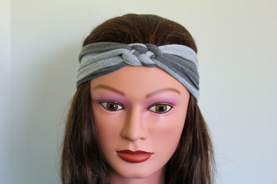 grey stripe Knotted Jersey Headband, T-Shirt Headband, Sailor's Knot Headband, Yoga Headband, stripe hairband