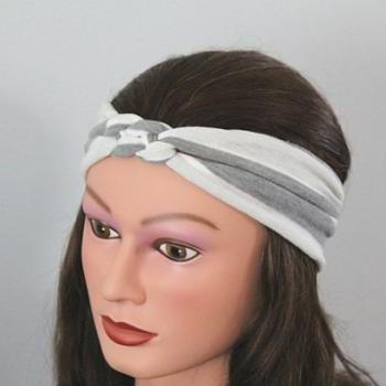 grey stripe Knotted Jersey Headband, T-Shirt Headband, Sailor's Knot Headband, Yoga Headband, grey hairband