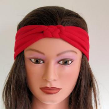 red Knotted Jersey Headband, T-Shirt Headband, Sailor's Knot Headband, Yoga Headband, red hairband